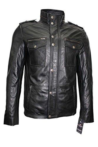 Smart Range Mens 5540 Gents Black Designer Real Sheep Nappa Soft Lambskin Leather Jacket (2XL)