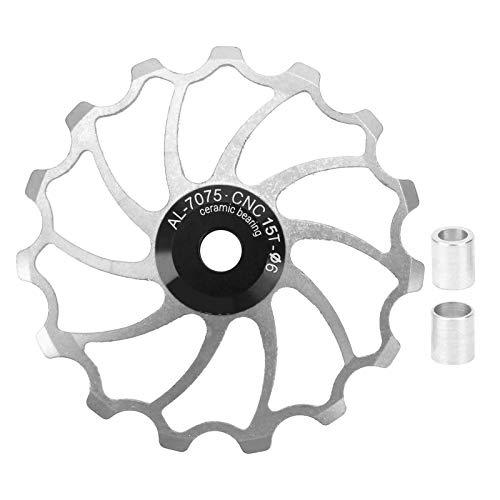 VGEBY Polea de guía de Bicicleta 15T, Rueda de polea de Cambio Trasero de Bicicleta para Bicicleta de Carretera MTB(Plata)