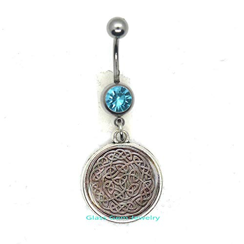 Celtic Knot Belly Ring, Viking Rune Belly Button Ring, Irish Jewelry, Celtic Belly Ring, Occult Jewelry, Men's Belly Ring,Q008