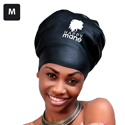 Happy Mane Silicone Swim Cap for Braids and Dreadlocks - Keeps Your Hair Dry While Swimming and Bathing Long Hair, Extensions, and Curly Hair - Large Shower Cap for Women, Men, Kids (Black, Medium)