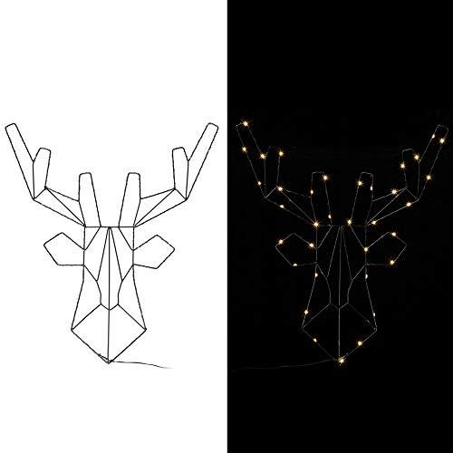 Casaria LED Weihnachtsdeko mit Batterie 6h Timer Rentier Fenster 3D beleuchtet Innen Außen Fensterdeko Weihnachten Deko