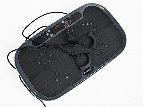 skandika Vibrationsplatte V1 3D Technologie mit 2 leisen Motoren und Oszillationstechnologie   6 Programme + 99 Stufen   Inkl. Poster, Trainingsbänder + Armband-Fernbedienung   Fitnessgerät
