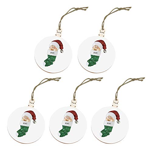 2020 Christmas Ornament Santa Wearing A Face Cover Decorate Christmas Tree, Home Decor, for Xmas Day (White)