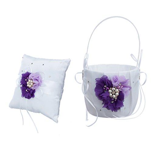 oshhni Anillo de Bodas Almohada Y Cesta de Flores Set de Flores Crystal Pearls Flower