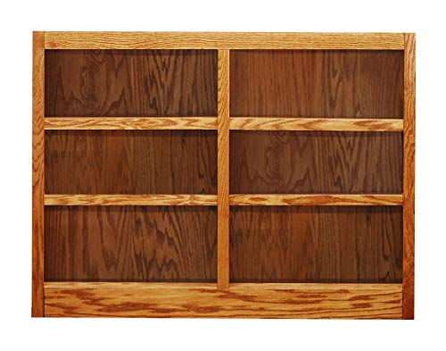 Concepts in Wood MI4836 6 Shelf Double Wide Wood Bookcase, 36 inch Tal (Oak)