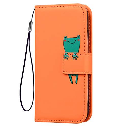 KERUN Funda para Cuero con Tapa Samsung Galaxy S21, Estuche para Teléfono Tipo Billetera [PU/TPU], Funda Protectora con Función de Soporte a Prueba de Golpes. Naranja