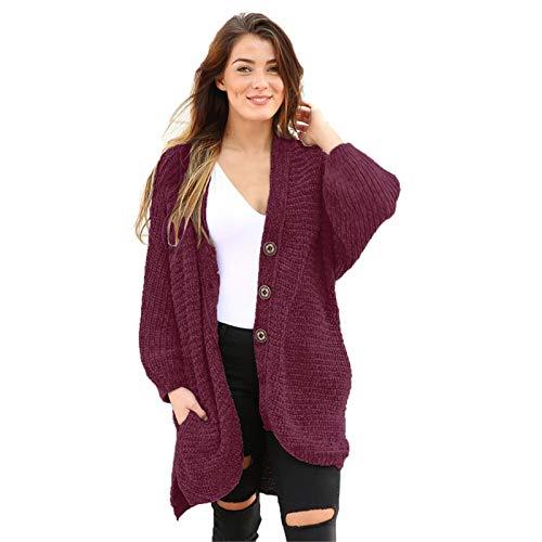 MICEROSHE Cómodo Suéter de Mujer Suéter Mujeres otoño e Invierno Chaqueta de Terciopelo Suelto Europeo y Americano cárdigan Casual de un Solo Pecho Sentirse Bien (Color : Rojo, Size : Large)