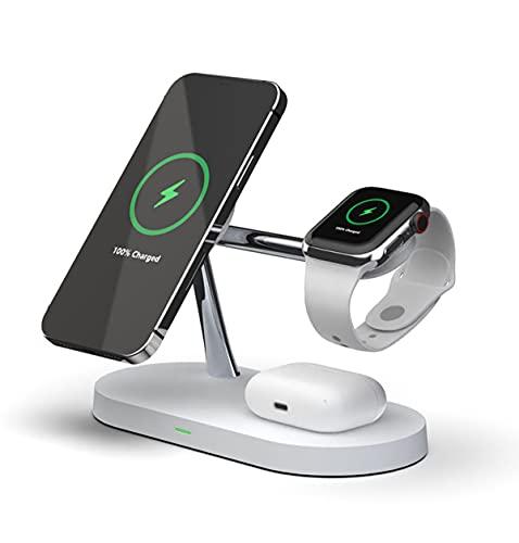15W Cargador inalámbrico magnético 5 en 1 PD Estación de Carga rápida Estación de Dock Compatible con el Cargador de Magsafe para iPhone 12 Pro MAX Chargers para Apple Watch 6 AirPods,Blanco