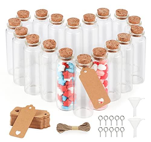 ABSOFINE 40 Stück Reagenzglas mit Korken und Geschenk Anhänger 30x90mm Kleine Glasflaschen Transparent Reagenzröhrchen Als Gastgeschenk Hochzeitsdeko Blumen Salz Mandeln Gewürze