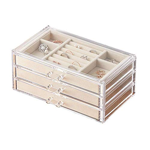 WNN - URG 3 niveles de joyero para mujer, caja de almacenamiento de terciopelo (para pendientes, pulseras, collares y anillos) transparente acrílico joyero joyero URG