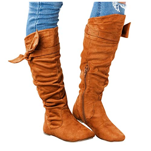 CUCUHAM Women's Ladies Fashion Casual Beautiful Knotted Knee-high Long Boots Flat Shoes(Brown,8.5 US/41 CN)