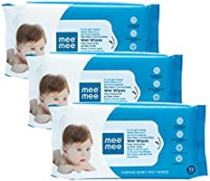 Mee Mee Baby Gentle Wet Wipes with Aloe Vera extracts |72 pcs| Pack of 3