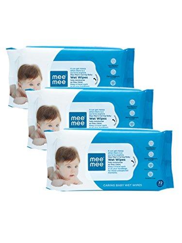Mee Mee Baby Gentle Wet Wipes with Aloe Vera extracts, 72 counts, Pack of 3
