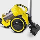 Kärcher Staubsauger VC 3 beutellos, Bodenstaubsauger mit Komfortausstattung, hocheffizienter Hepa-Filter, 700 Watt, gelb-schwarz, handlich, leise & allergikerfreundlich