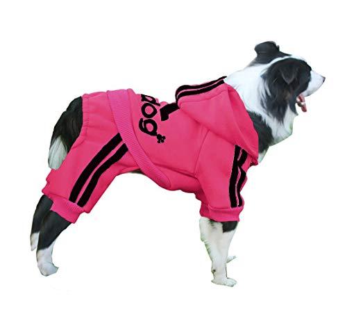 Izefia Ropa para Perro Sudaderas con Capucha para Perro Suéter Cálido de Lana 4 Patas Mono Camisa de Algodón para Perro Pequeños Perro Grande (Carmín, S)