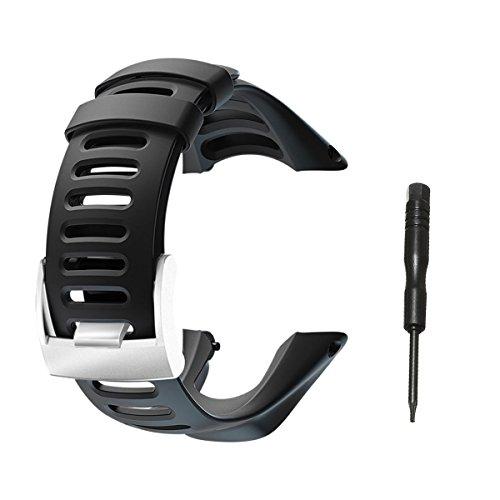 Vindar Bracelet avec Bracelet en Caoutchouc Souple pour Suunto Ambit 1/2 / 2S / 2R / 3 Sport / 3 Run / 3 Peak, Ajustable, Bracelet Unisexe, Noir (Comprend 1x Tournevis)