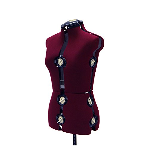 Female Adjustable Dress Form for Sewing - 12 Dial Fabric Female Adjustable Body Form with Base (Large)