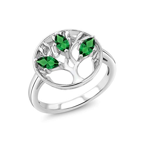 Gem Stone King 925 Sterling Silver Green Simulated Emerald Family Tree of Life Women Ring (0.60 Ct Marquise Cut, Available in size 5, 6, 7, 8, 9)