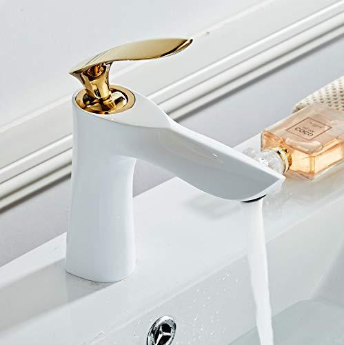Waschtischarmatur für Bad, Einhebelmischer Mischbatterie aus Messing, Weiß & Gold