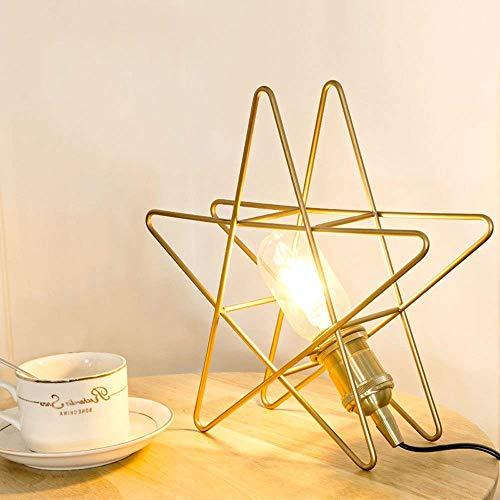 Eenvoudige kop, Hollow tafellamp met sterren van metaal, E27-fitting voor bureau, veiligheid, studioverlichting, leeslamp, kinderkamer, nachtverlichting voor school, kantoor, slaapkamer, S