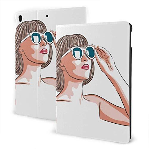 Ipad Case Protector 2019 Ipad Air3/2017 Ipad Pro 10.5 Inch Case/2019 Ipad 7th 10.2 Inch Case Beautiful Woman Wearing Sunglasses Universal Ipad Case Auto Wake/Sleep