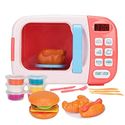Chrisoty Mikrowellen-Spielset für Kinder mit künstlichen Lebensmitteln – Spielzeug ideal für Kleinkinder ab 3 Jahren und ältere Grills und Jungen Rose