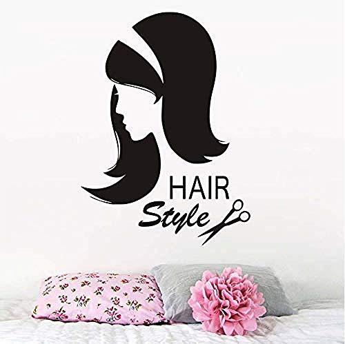 peluquería etiqueta de la pared vinilo tijeras sexo chica corte de pelo etiqueta de la pared interior peluquería extraíble peinado belleza Salon58X80Cm