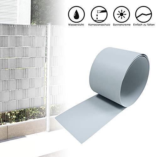 Froadp 10 Stück Hart PVC Sichtschutzstreifen 2,5m x 19cm Sichtschutz Windschutz Garten für Doppelstabmattenzaun Zaun Zaunsichtschutz Hellgrau