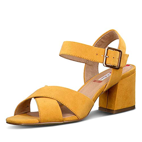 s.Oliver 28316-24 Damen modische Sandalette aus Lederimitat 55-mm-Blockabsatz, Groesse 38, gelb