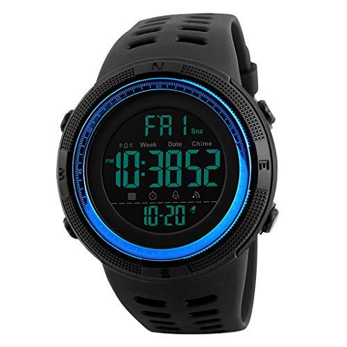 Reloj digital #N/A para hombre, resistente al agua, 50 m, reloj deportivo con cronómetro, doble zona de tiempo EL, color azul