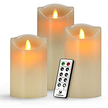 Flameless Candles , Battery Candles Set of 3(H 5 6 7 x D3 ) Battery Operated Candles Real Wax Pillar With Remote Timer By Comenzar (Ivory )