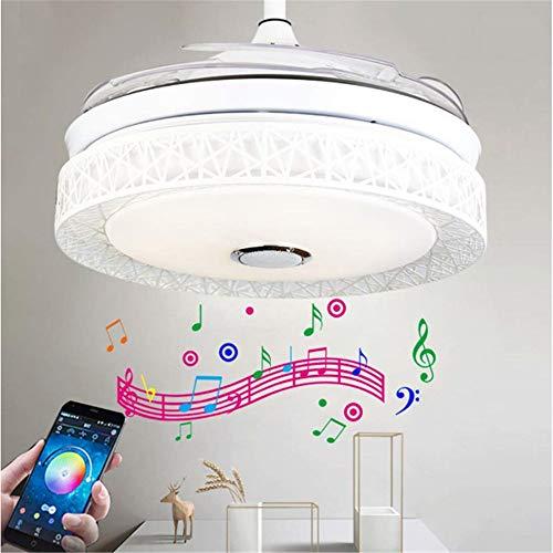 Ventiladores de techo con iluminación RGB lámpara de techo Alexa Echo & Google Inicio Música Moderna luz de techo retráctil cuchillas moderna plegable de la lámpara
