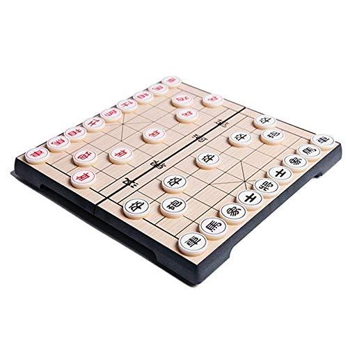 Xjdmg Juego de Tablero de ajedrez Chino con Juego magnético Plegable magnético Beige Piezas de Navidad Regalo de cumpleaños Piezas Juego de Mesa (Color : Medium, Size : -)