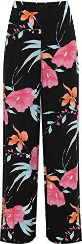 Ladies Plus Size Floral Hawaiian Style Print Palazzo Trousers, Wide Leg, Sizes 12 to 26