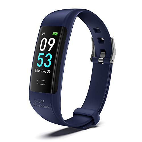 HZHHH Intelligente Fitness Tracker, TPU Wasserdicht Pedometer Herzfrequenz-Blutdruck-Monitor, Schlaf-Monitor-Sport-Armband Für Frauen Männer,Schwarz