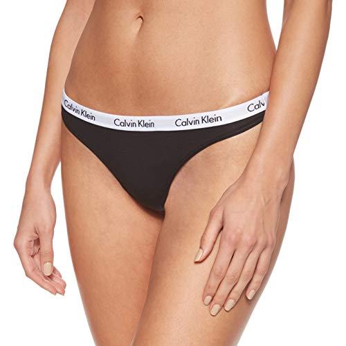 Calvin Klein Carousel-Thong Tanga de hilo, Negro (black 001), S (Tamaño del fabricante: 36) para Mujer