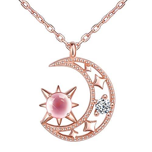 Unendlich U Damen kette Halskette 925 Sterling Silber Zirkonia Rosa Sterne Hängen am Mond Anhänger Allergenfrei Verstellbare Kette,Rosegold