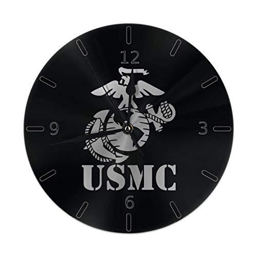 Silent Non Ticking Runde Wanduhren, Eagle Globe Anchor USMC Marine Corps Uhren Batteriebetriebene Quarz Analog Quiet Tischuhr