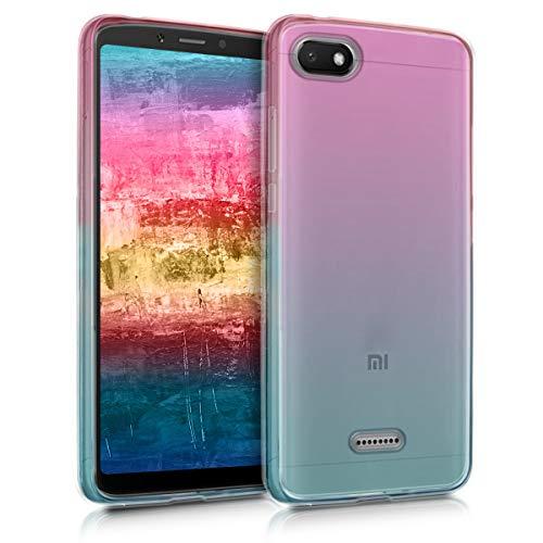 kwmobile Funda Compatible con Xiaomi Redmi 6A - Carcasa de TPU Bicolor - Rosa Fucsia/Azul/Transparente