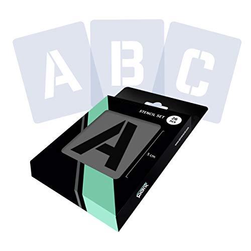 QBIX Ensemble de pochoir lettre, pochoir Alphabet, police de pochoir majuscule, lettres hauteur 5 cm - pochoir bricolage convivial réutilisable pour la peinture, l'artisanat, le mur, les meubles