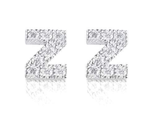 Oorbellen letter initiaal Z 925 zilver met zirkonia oorstekers