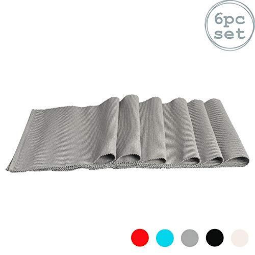 Nicola Spring Rechteckiges Tischset aus Baumwolle - gerippt - Grau - 480 x 330 mm - 6 Stück
