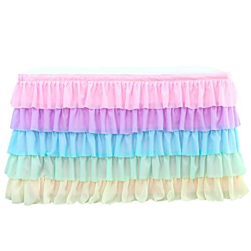 Dreamworldeu Falda de mesa de 5 capas arcoíris de tul, decoración de...