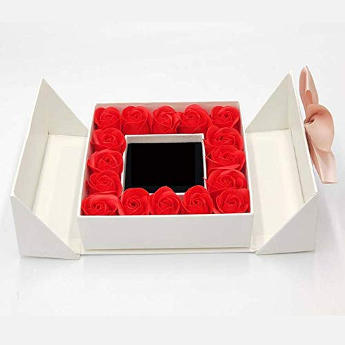N-B MothersDay S,ROSE SPACE 16 Roses Box Artificial Flowers Jewelry Necklace Ring Box For Mom Girlfriend Birthday Wedding Mother's Day