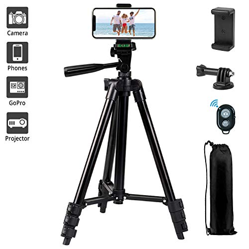 """Phone Tripod,LINKCOOL 42"""" Aluminum Lightweight Portable Camera Tripod for Iphone/Samsung/Smartphone/Action Camera/DSLR Camera with Phone Holder & Wireless Bluetooth Control Remote - Black"""