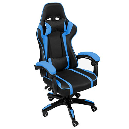 AudioTek Silla Gamer Gaming Consolas Pc Ergonomica Reclinable Colores (Azul)