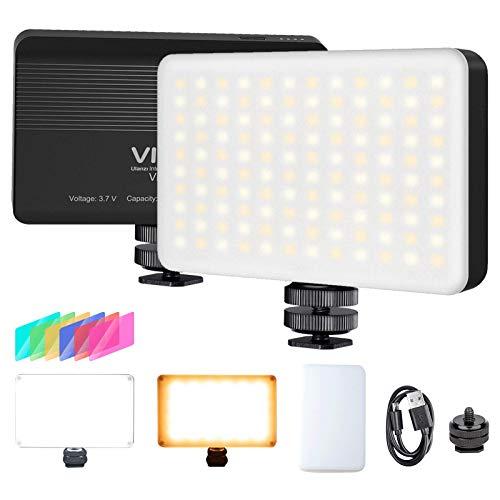 VIJIM VL120 LED on Camera Video Light,Mini Bi-Color LED Camera Light,Portable Photography Lighting w 6 Color Filters, 3100mAh Rechargeable CRI 95+ 3200K-6500K Dimmable LED Panel Light for DSLR Camera