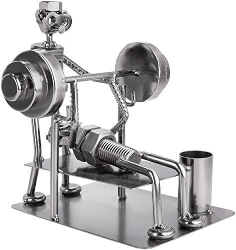 BRUBAKER Screw Man Bodybuilder Bench Press - Figura de Hierro Hecha a Mano Hombre de Metal - Figura de Metal con Soporte para Bolígrafo - Regalo para Deportes de Fuerza, Gimnasios, Atletas