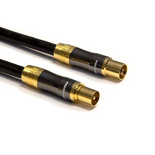 PremiumX 30m Gold-Line TV Antennenkabel Schwarz IEC-Anschlusskabel Koax Stecker - Kupplung Koaxialkabel Metallgehäuse HDTV 4K 0,96€/m