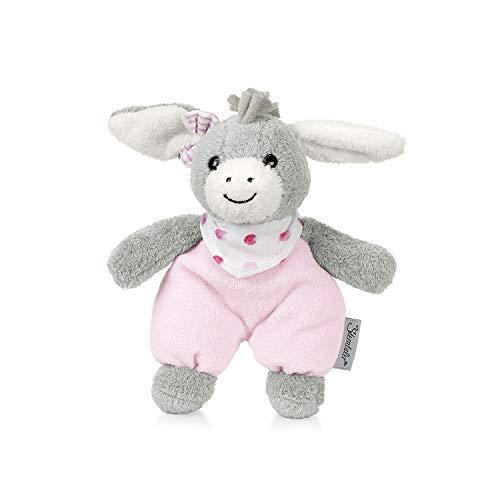 Sterntaler 3051838 Mini-Spieltier Emmi Girl, Integrierte Rassel, Alter: Für Babys ab der Geburt, 17 cm, Pink/Grau